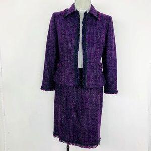 Tahari gorgeous purple tweed skirt suit set